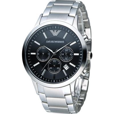 EMPORIO ARMANI Classic 時尚計時腕錶-黑鋼/43mm