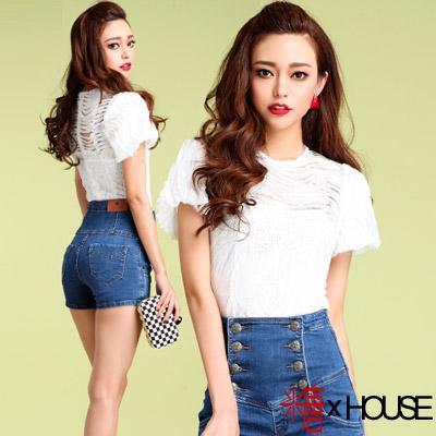 波浪壓摺蕾絲拼接透膚上衣 (白色)-糖 x House