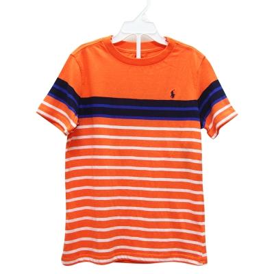 Ralph Lauren 經典小馬休閒條紋短袖t恤-橘/白(6歲)