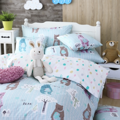 OLIVIA  小熊森林 藍 單人兩用被套床包三件組