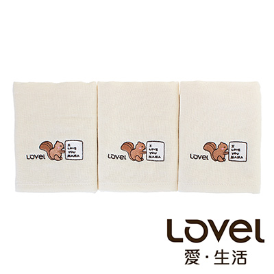 Lovel 天然有機棉紗布童巾3入組-松鼠Baby