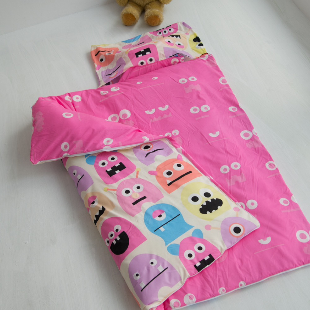 cheri 怪獸寶貝-粉 舖棉兩用小睡袋
