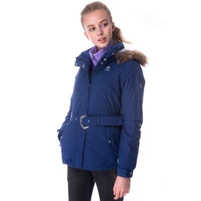 【hilltop山頂鳥】女款GoreTex兩件式防水羽絨短大衣F22FU8暮光藍