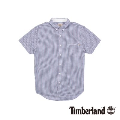 Timberland 男款藍紅細格紋修身短袖襯衫