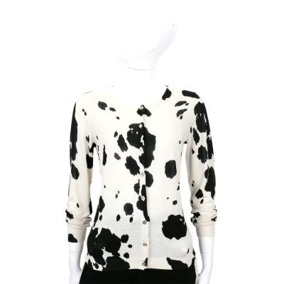BOUTIQUE MOSCHINO 米白色乳牛斑紋針織外套