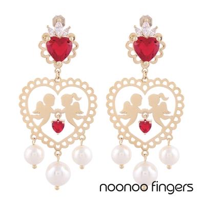 Noonoo Fingers AC Lace Angels 花邊天使 鑲珍珠水鑽 耳環