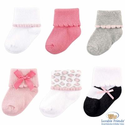 Luvable Friends 白灰粉豹紋嬰兒襪6雙入組
