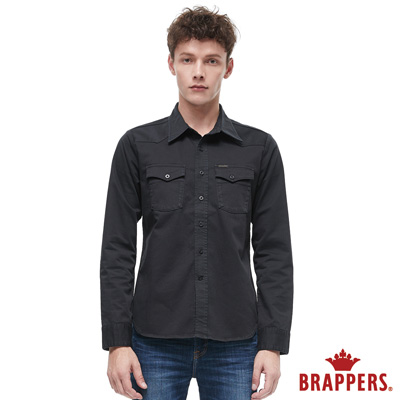 BRAPPERS 男款 長袖襯衫-黑