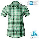 【瑞士 ODLO】女款 輕量級銀離子快乾格子短袖襯衫_松石綠格紋