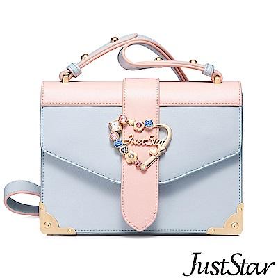 Just Star 愛心繽紛飾釦信封包 淡粉藍