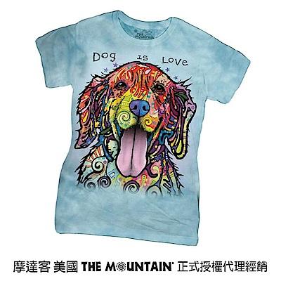 摩達客 美國進口The Mountain 彩繪開心黃金獵犬 短袖女版T恤
