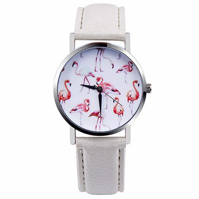 Watch-123 日日美好-紅鶴裝飾美麗隨行手錶-白色/37mm