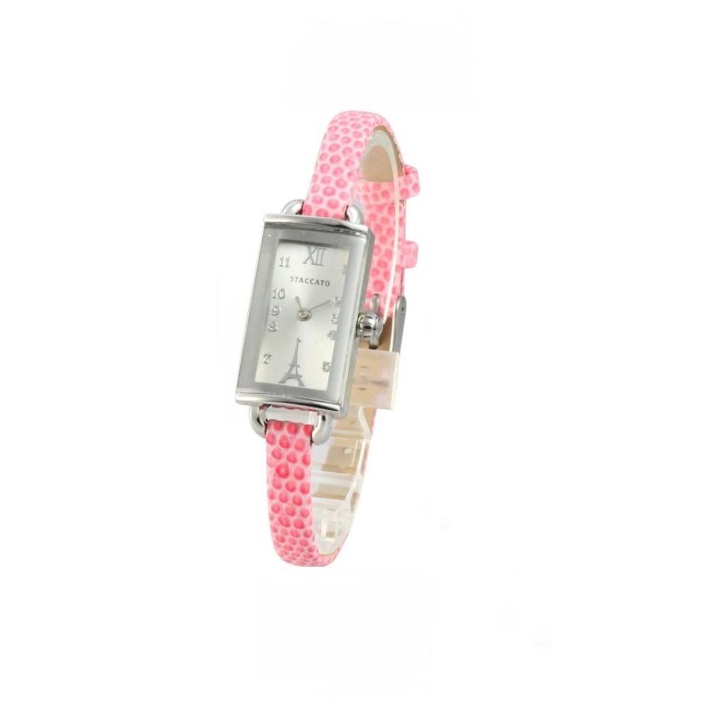 STACCATO 法式典雅巴黎鐵塔時尚腕錶-銀x粉紅錶帶/16mm