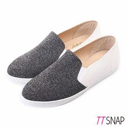 TTSNAP懶人鞋MIT竹節棉布休閒樂福鞋 黑