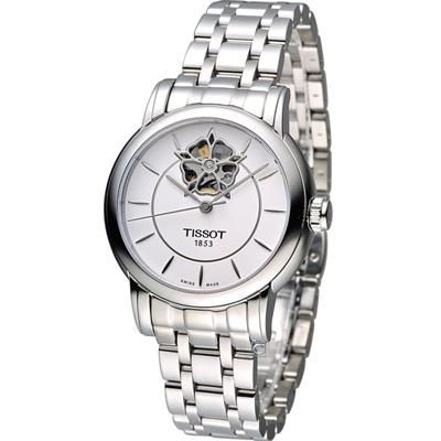 TISSOT Lady Heart 瑰麗藝術鏤空機械腕錶-銀/35mm
