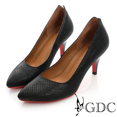 GDC都會-V切口紅底尖頭真皮中跟鞋-黑色