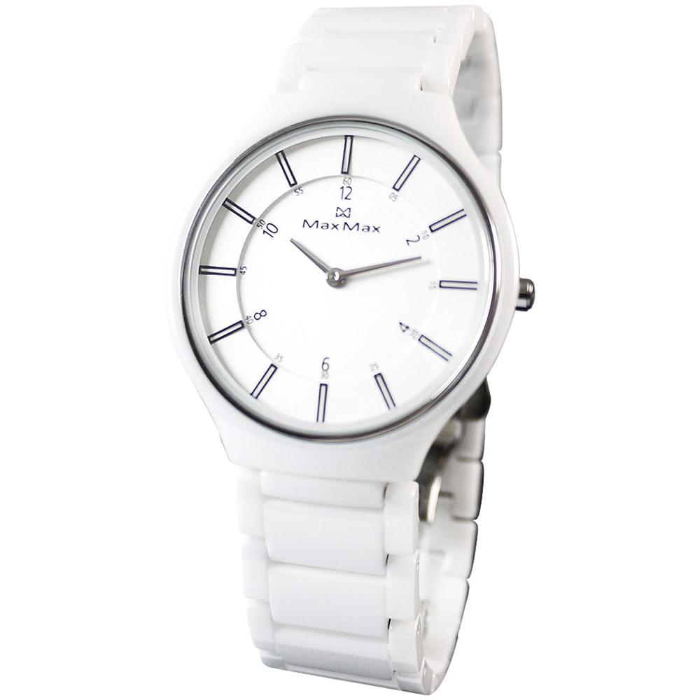 Max Max 精采對決陶瓷腕錶-白/38mm