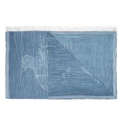 Alviero Martini 義大利地圖 牛仔面料風格絲巾-藍(80X180)