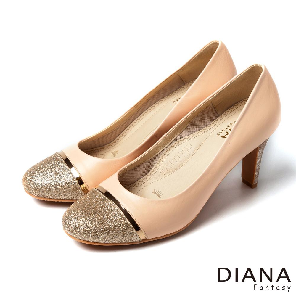 DIANA 超厚切焦糖美人--異材質對比色系真皮跟鞋-粉