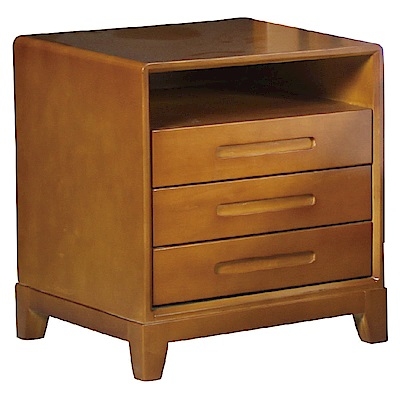 品家居 派翠西1.6尺柚木紋實木三抽床頭櫃-49x45x55cm-免組