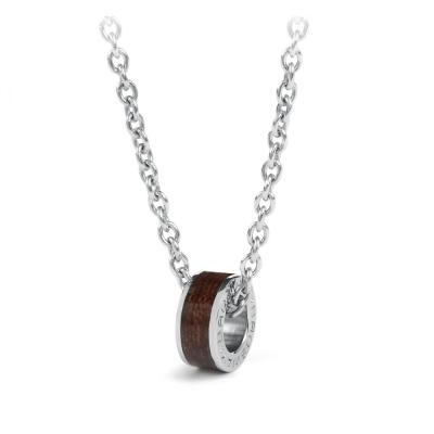 Brosway   Life 咖啡色木環墜子不鏽鋼項鍊