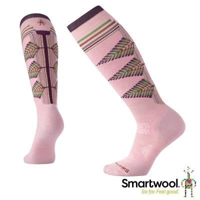 SmartWool 女PhD滑雪輕量避震印花高筒襪 木玫粉