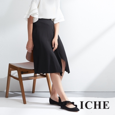 ICHE衣哲 不規則造型時尚簡約百搭半長裙-黑