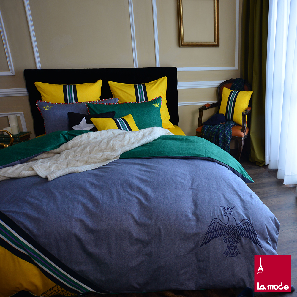 La Mode寢飾☆皇家單寧☆100%精梳棉-被套床包組(雙人)