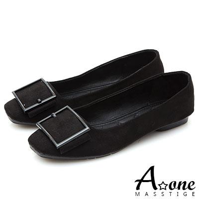A one 麂絨皮帶釦方頭娃娃鞋-黑色