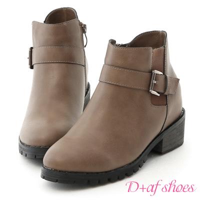 D+AF 話題主角.側鬆緊內增高軍風短靴*灰棕