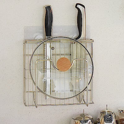 樂貼工坊 不鏽鋼鍋蓋架/刀具架/微透貼面-21.5x6x21.5