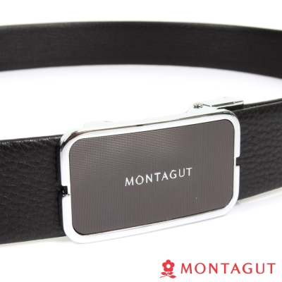 MONTAGUT夢特嬌-經典圓角黑底點紋Logo款-二層牛皮自動扣皮帶-757