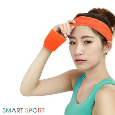 [SMART SPORT] 台灣製造 100%純棉運動頭帶腕帶組合-素色2+2 (俏皮橘)