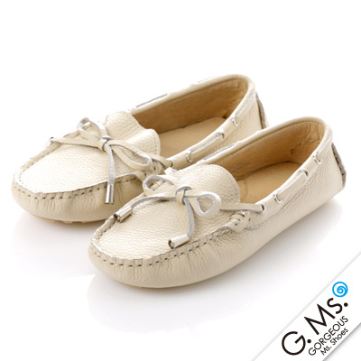 G.Ms. 童鞋-全真皮蝴蝶結休閒鞋- 寶貝白