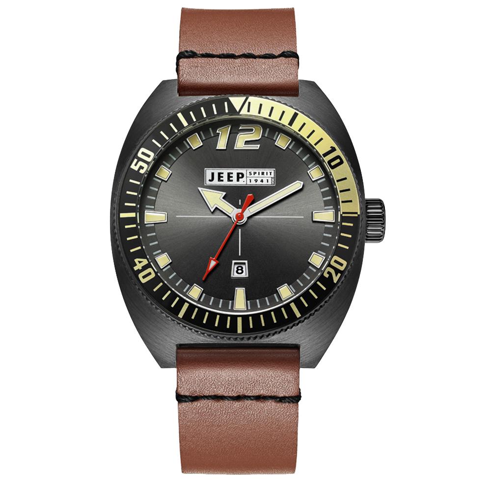 Jeep Spirit 美國指標美式復古風腕錶-黑X褐色/47mm