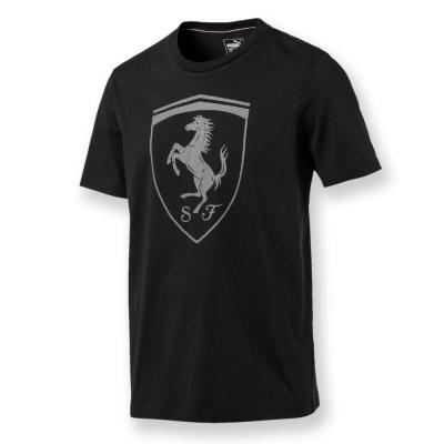PUMA-男性法拉利經典系列同色大盾牌短袖T恤-暗月黑-歐規