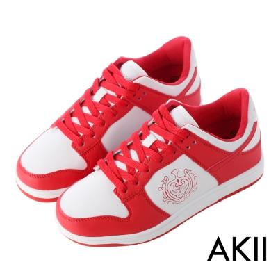 AKII韓國空運‧皇家徽章內增高休閒鞋-紅白