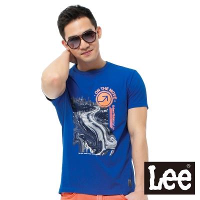 Lee-短袖T恤-馬路夜景印花-男款-藍