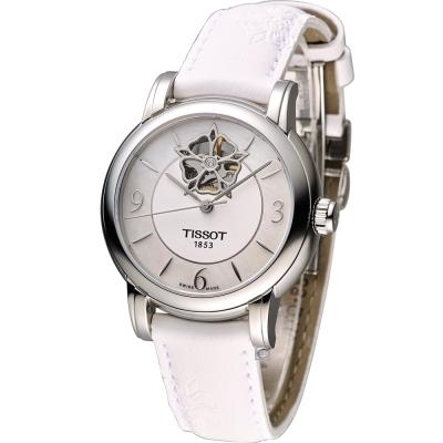 TISSOT Lady Heart 瑰麗藝術鏤空機械腕錶-珍珠彩貝/35mm