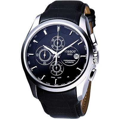 TISSOT 天梭 Couturier 建構師系列機械腕錶-黑/43mm