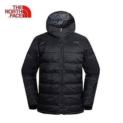 The North Face北面男款黑色戶外保暖羽絨服