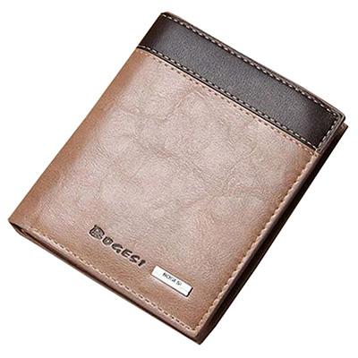 A-accessories-復古牛仔風素面黑邊休閒短夾