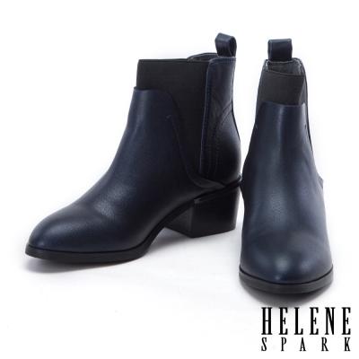 短靴 HELENE SPARK 低調簡約金屬片點綴粗跟短靴-藍