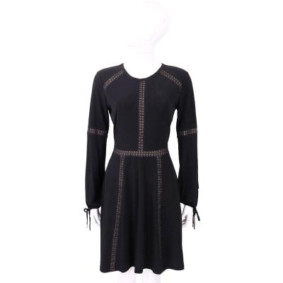 Michael Kors 黑色蕾絲拼接縷空抽繩袖洋裝