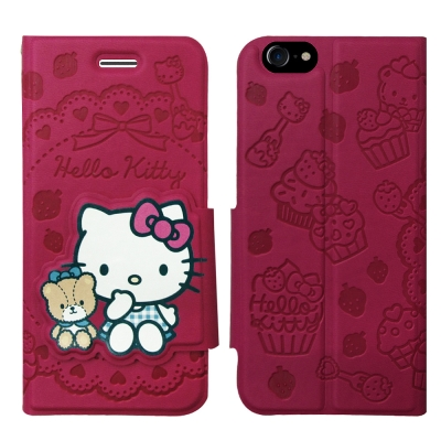 Hello Kitty貓 iPhone 8/iPhone 7 立體磁扣皮套(杯子...