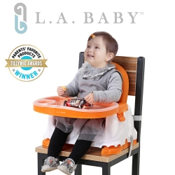 (L.A. Baby) 攜帶式兒童摺疊餐椅(橘/綠色)