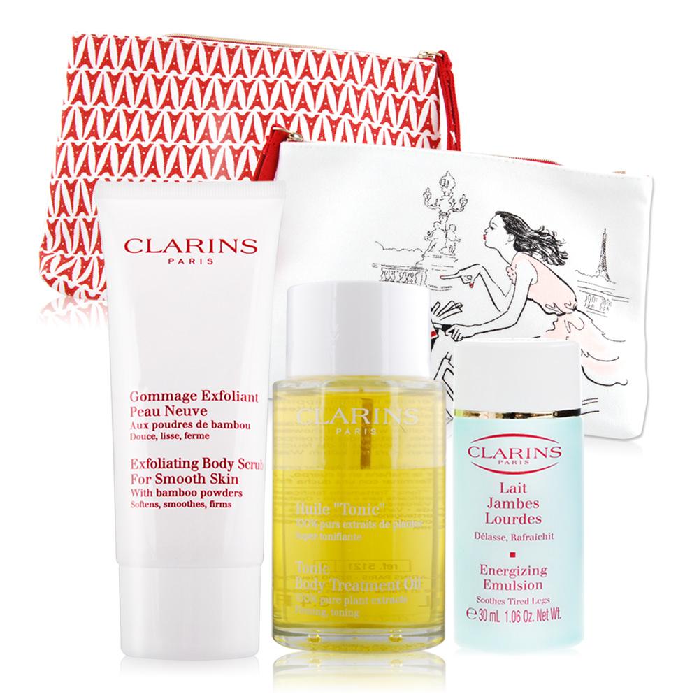 CLARINS克蘭詩 身體調和護理油100ml贈美腿滋潤乳+身體去角質霜+化妝包