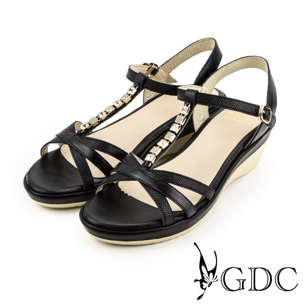 GDC-低調奢華水鑽真皮素色涼鞋-黑色