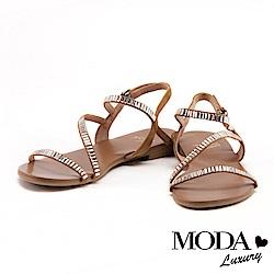 涼鞋 MODA Luxury 熱帶度假風長型鑽排列設計牛皮平底涼鞋-淺棕