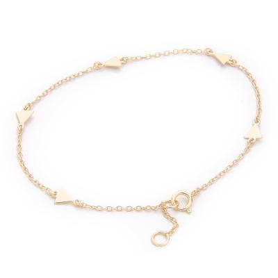 SHASHI 紐約品牌 Arrow 迷你箭頭金手鍊 925純銀鑲18K金